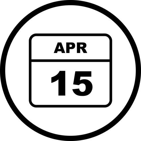 15 de abril Data em um calendário de dia único