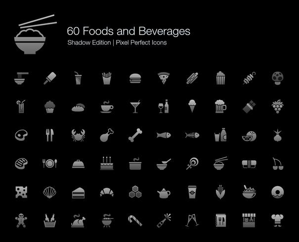Alimentos e Bebidas Pixel Perfect Icons Shadow Edition.