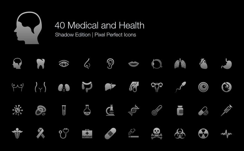 Medical and Health Human Organs and Body Parts Pixel Perfect Icons Shadow Edition.  vector