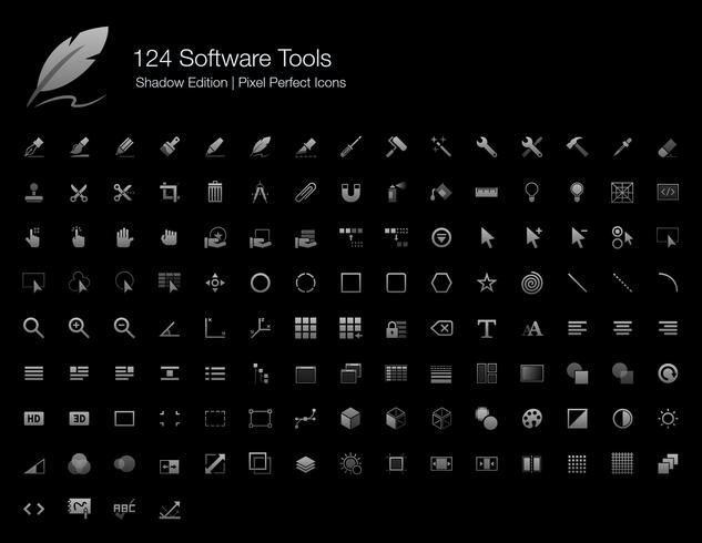 Softwarehulpmiddelen en gebruikersinterfaces Pixel Perfect Icons Shadow Edition. vector