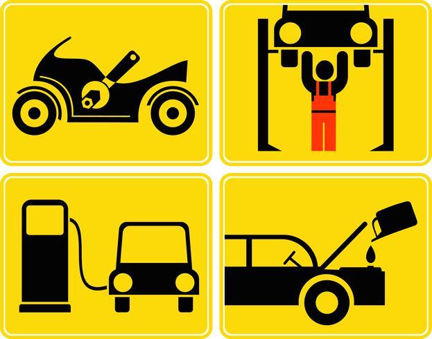 Autoservice, Motorradreparaturen, Motorölwechsel, Tankstelle - Vektorzeichen