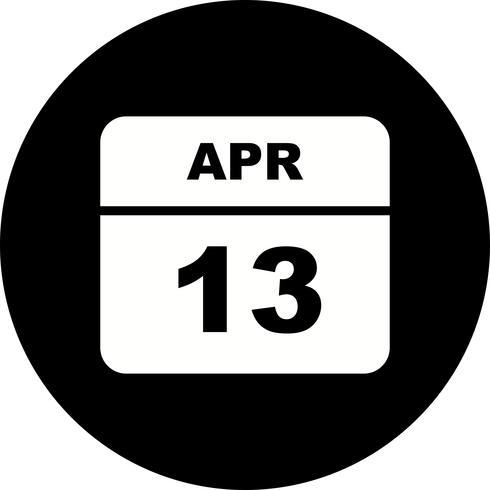 13 de abril Data em um calendário de dia único