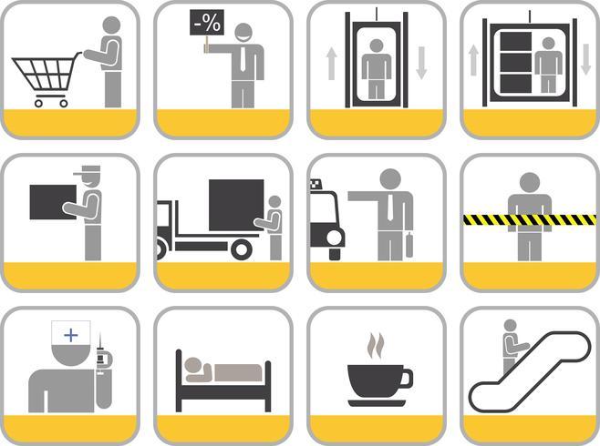 Conjunto de ícones do vetor para o centro comercial