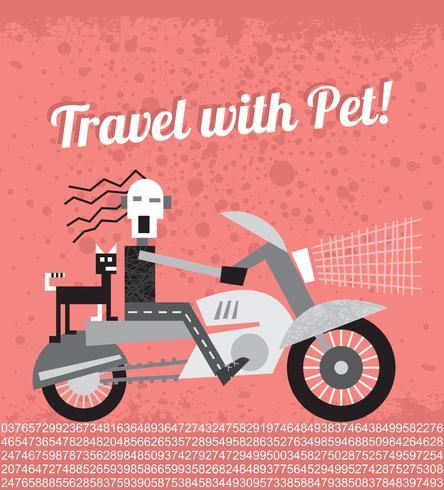 Biker with his cat vector illustration