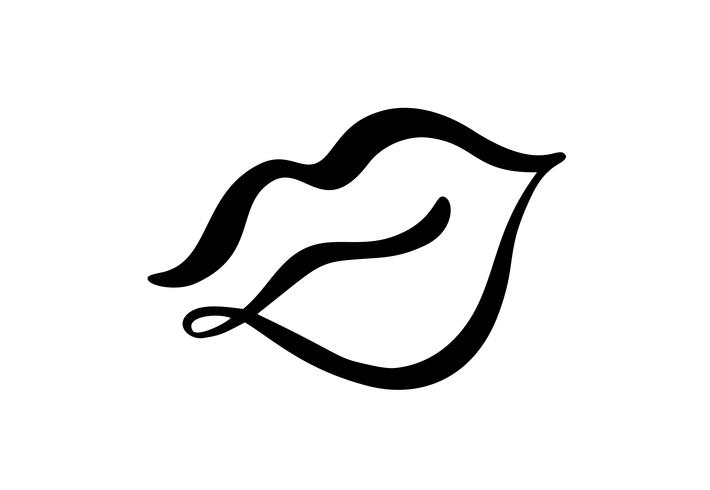 Vetor abstrato mão desenhada lábios símbolo beleza. Rótulo de logotipo de imagens para impressão em roupas. Elemento de caligrafia de ilustração isolado para design minimalista