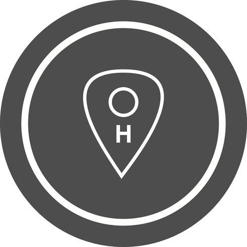 Diseño de icono de ubicación de hospital vector