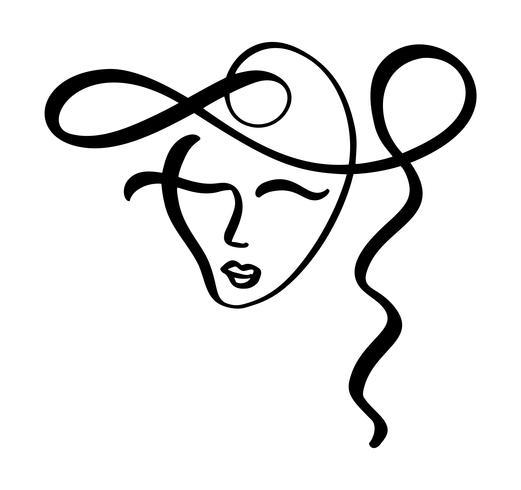 Linha contínua, desenho de rosto de mulher, moda conceito minimalista. Cabeça feminina linear estilizada com os olhos fechados, logotipo de cuidados da pele, ícone do salão de beleza. Vetorial, ilustração, uma linha