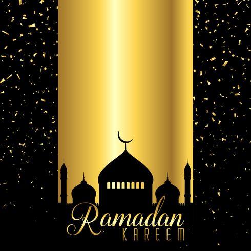 Ramadan Kareem-achtergrond met moskeesilhouet op confettienontwerp
