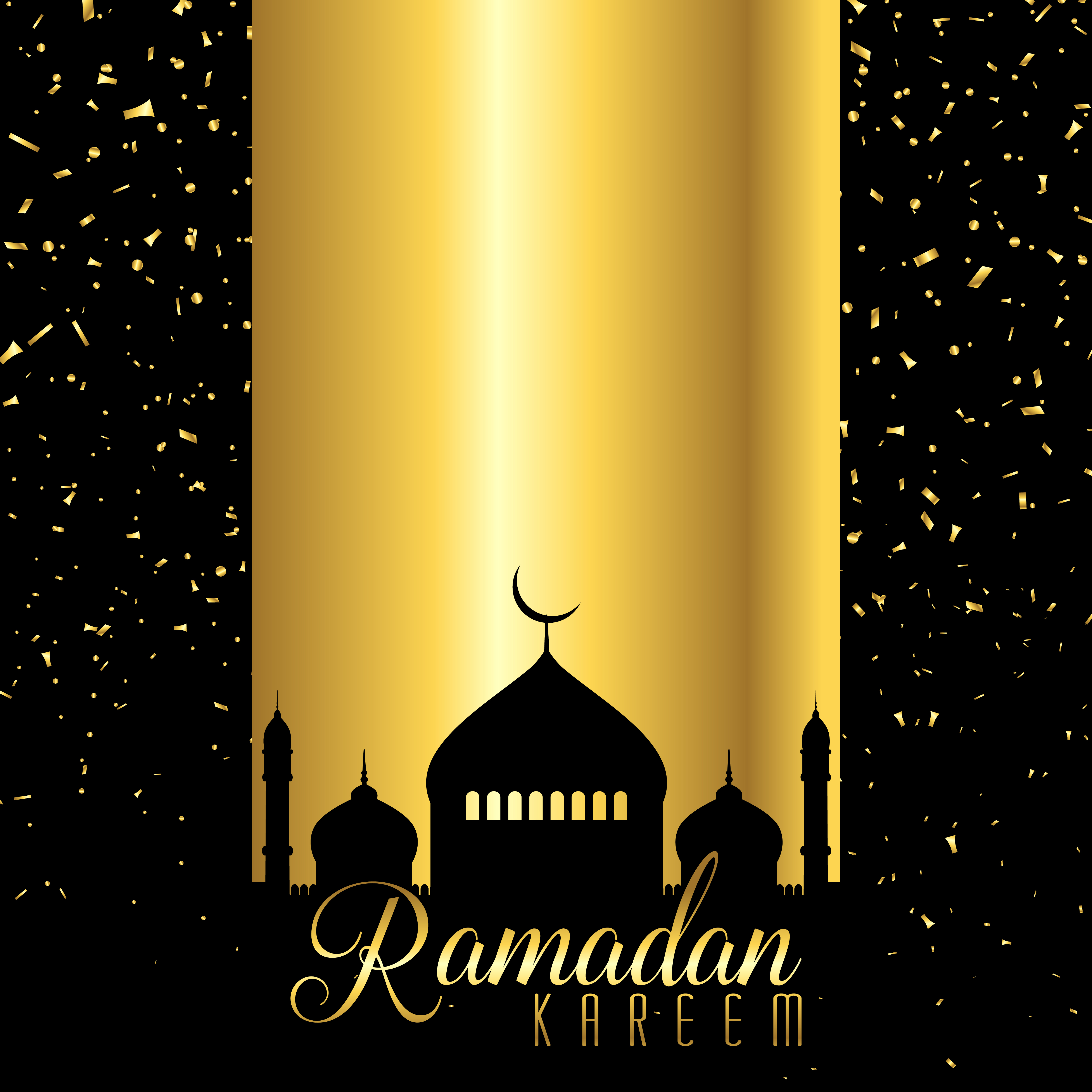 Ramadan Kareem Background With Mosque Silhouette On