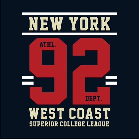 Camiseta con diseño de tipografía de la costa oeste de Nueva York