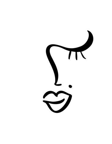 Linha contínua, desenho de beleza de rosto de mulher, moda conceito minimalista. Cabeça feminina linear estilizada com os olhos fechados, logotipo de cuidados da pele, ícone do salão de beleza. Ilustração vetorial