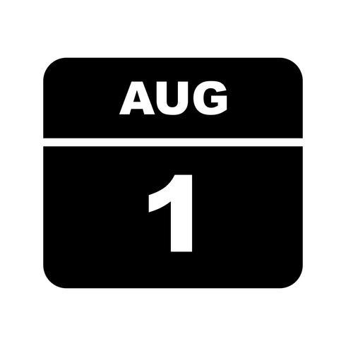 1 de agosto Data em um calendário de dia único