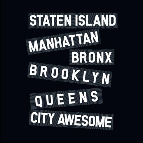 NYC-lijntypografie voor T-shirtontwerp,