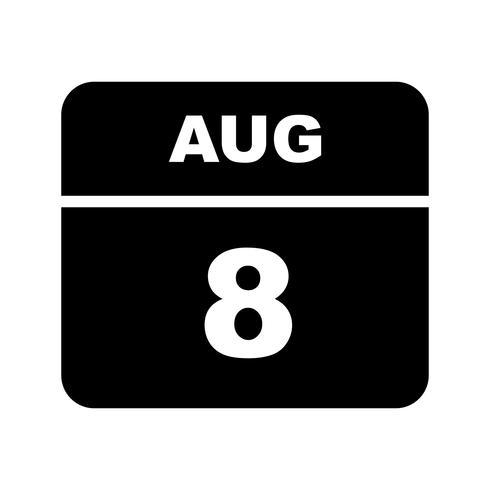 8 agosto Data in un calendario per un solo giorno vettore