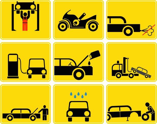 Auto serviço vector conjunto de ícones