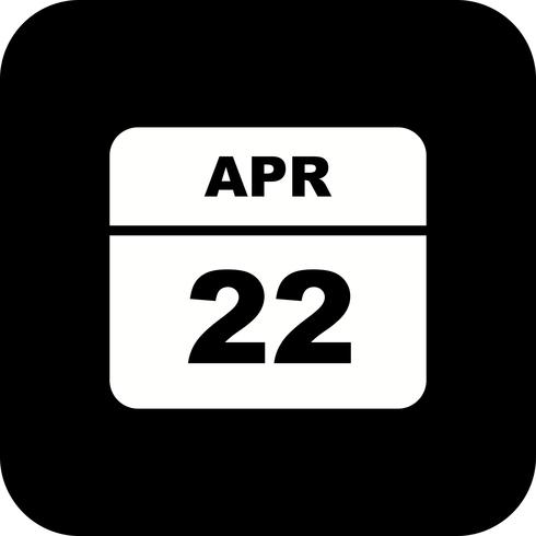 22 april Date on a Single Day Calendar vector