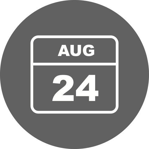 24 augusti Datum på en enkel dagskalender