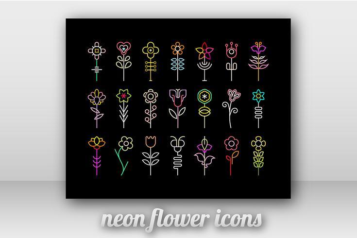 Ícones de vetor de flor de néon