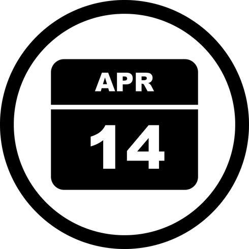 14 aprile Data su un calendario per un solo giorno vettore