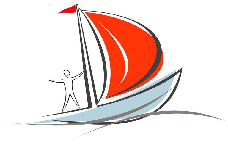 Iate, veleiro com um marinheiro a bordo