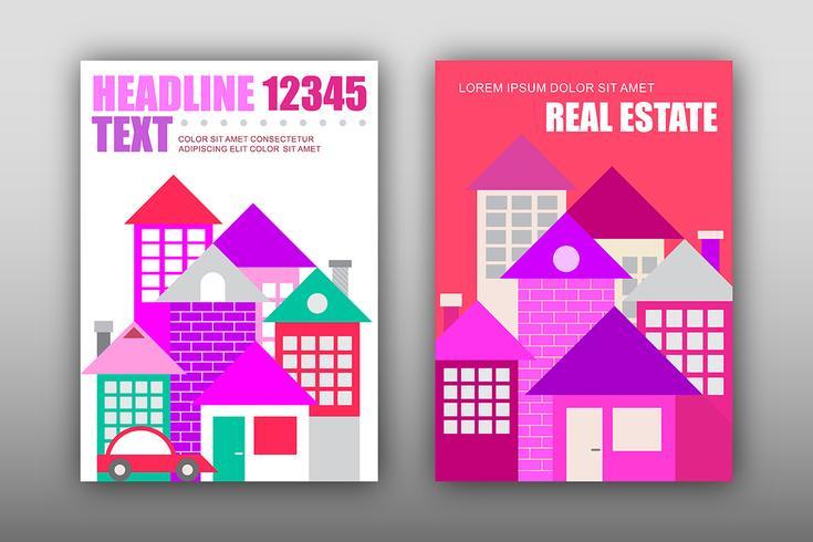 Maisons modernes, modèle de magazine vectoriel