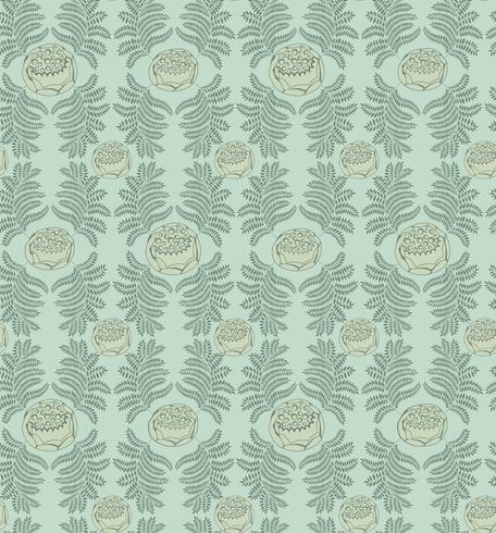Patrón floral del azulejo. Adorno retro brocado. Fondo de hojas de florecer. vector