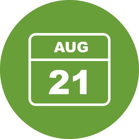 21 augustus Datum op een dagkalender