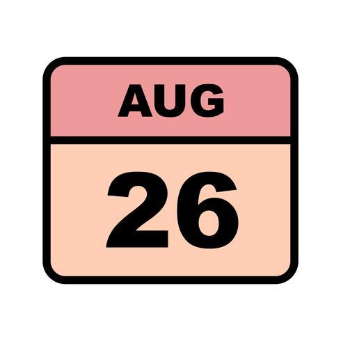 Fecha del 26 de agosto en un calendario de un solo día vector