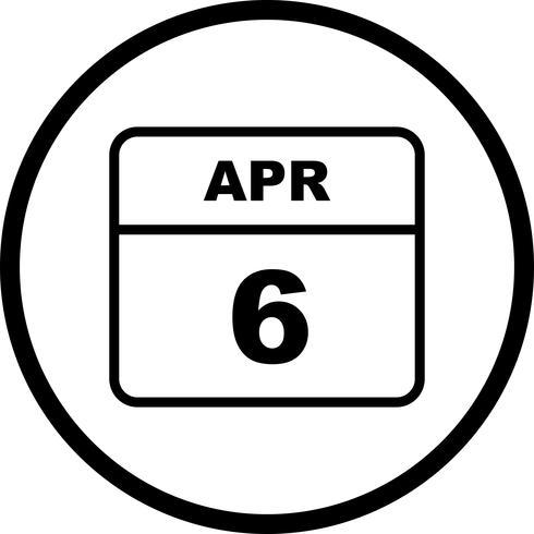 Data de 6 de abril em um calendário de dia único