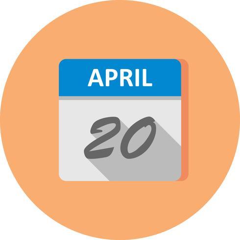 20 april Datum op een eendaagse kalender vector