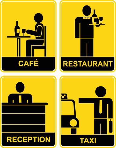 Cafe, Restaurant, Taxi, Reception - signs