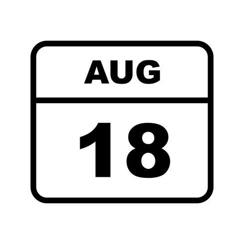 18 de agosto Data em um calendário único dia vetor