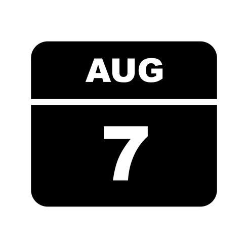 7 de agosto, fecha en un calendario de un solo día vector