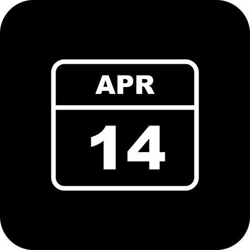 14 april Datum på en enkel dagskalender vektor