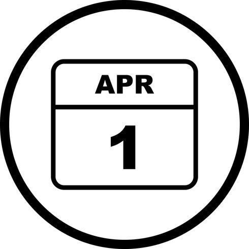 1 de abril Data em um calendário de dia único vetor