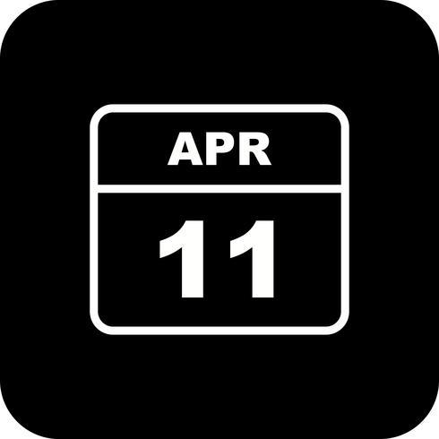 11 de abril Data em um calendário de dia único