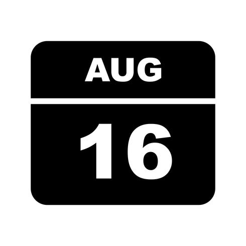16 août Calendrier d'une journée vecteur