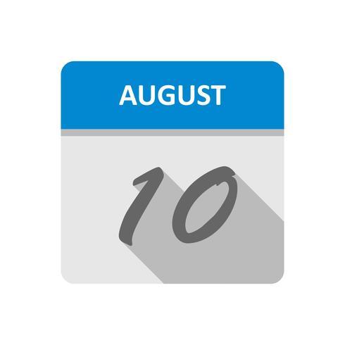 10 de agosto Data em um calendário de dia único