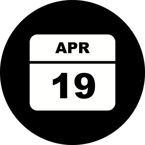 19 de abril Fecha en un calendario de un solo día