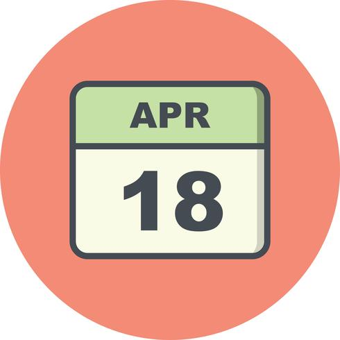 Data de 18 de abril em um calendário de dia único vetor