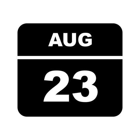 23 de agosto, fecha en un calendario de un solo día