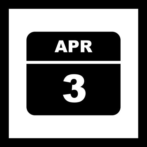 3 de abril Data em um calendário de dia único vetor