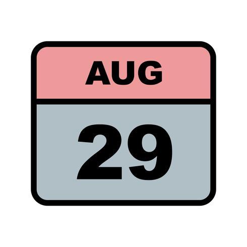 Fecha del 29 de agosto en un calendario de un solo día vector