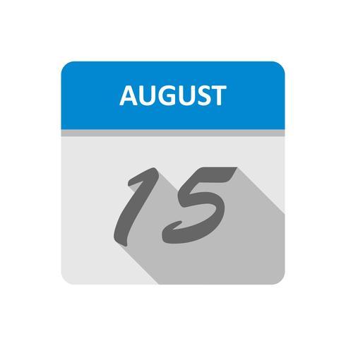 15 augustus Datum op een dagkalender vector