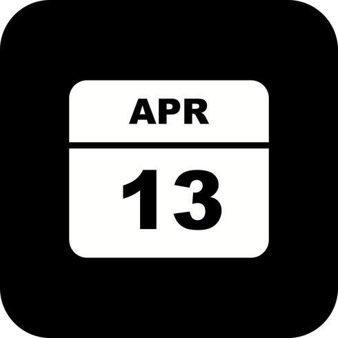 13 april Datum op een eendaagse kalender vector