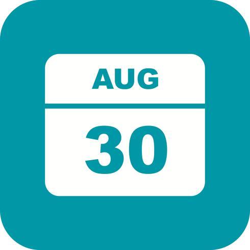 30 augustus Datum op een eendaagse kalender