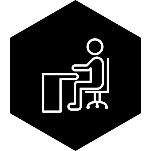 Sentado no design do ícone de mesa