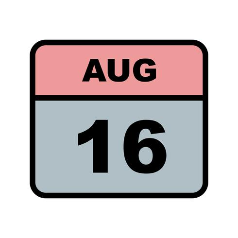 16 augusti Datum på en enkel dagskalender