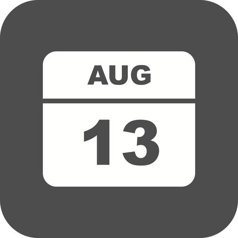 13 de agosto, fecha en un calendario de un solo día