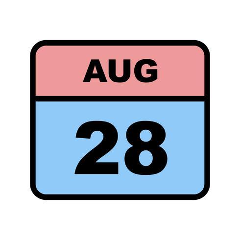 28 agosto Data su un calendario per un solo giorno